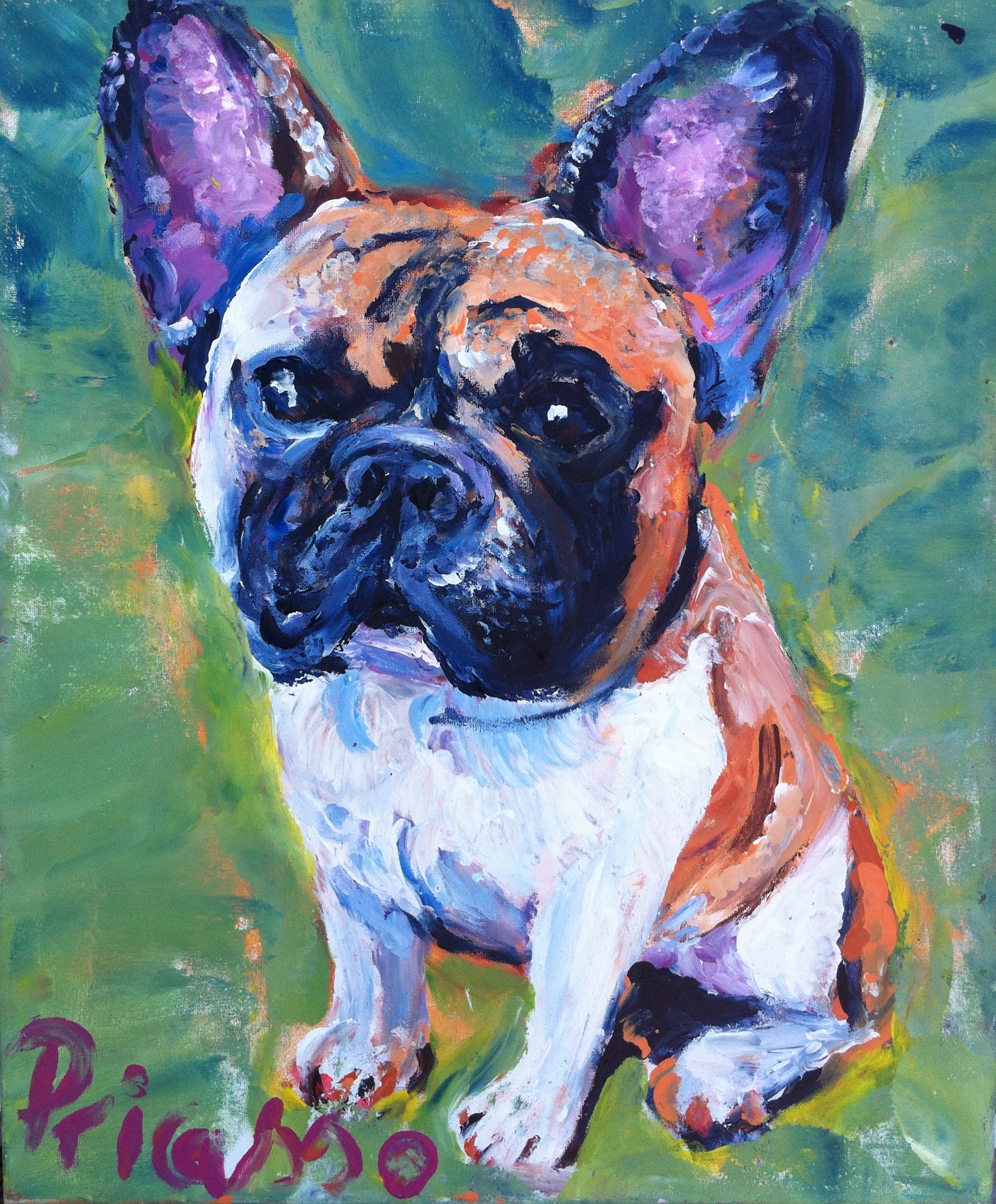 Portrait of a french bulldog by Pricasso
